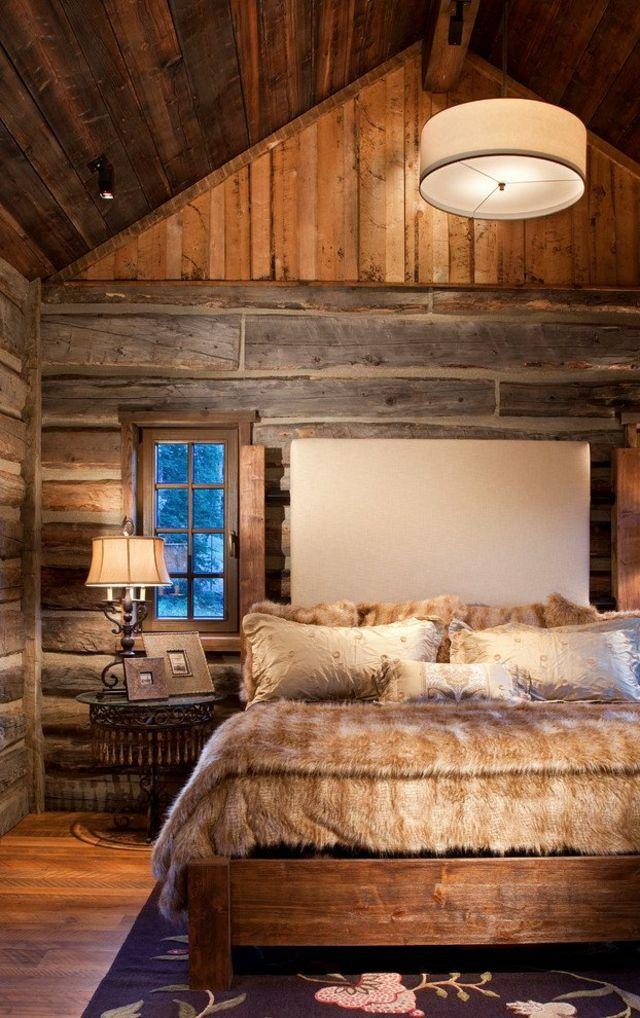 L\'esprit montagne reflété dans une chambre rustique | Bois massif ...