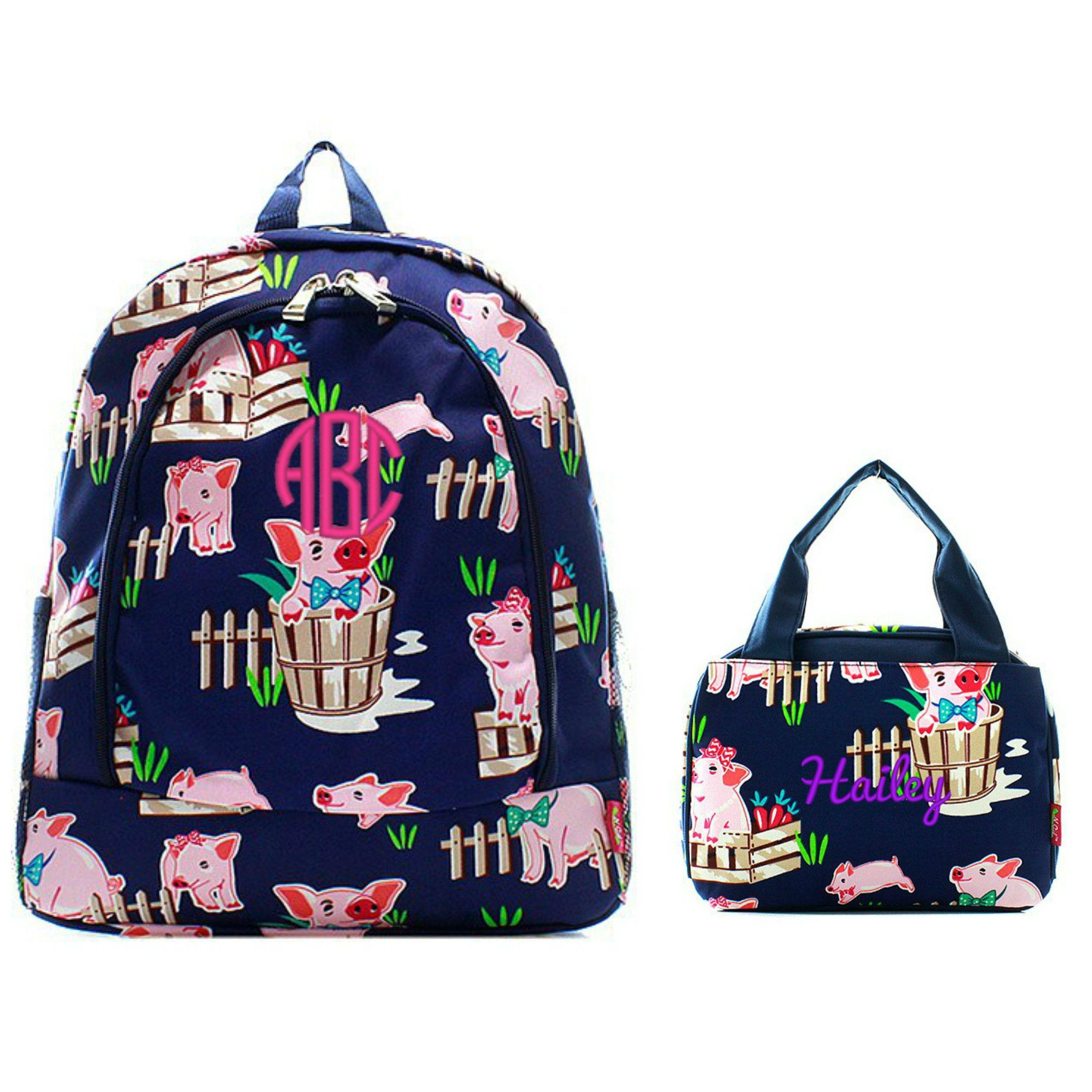 Matching Pig Navy Personalized Kids Backpack & Lunch Bag Set ...