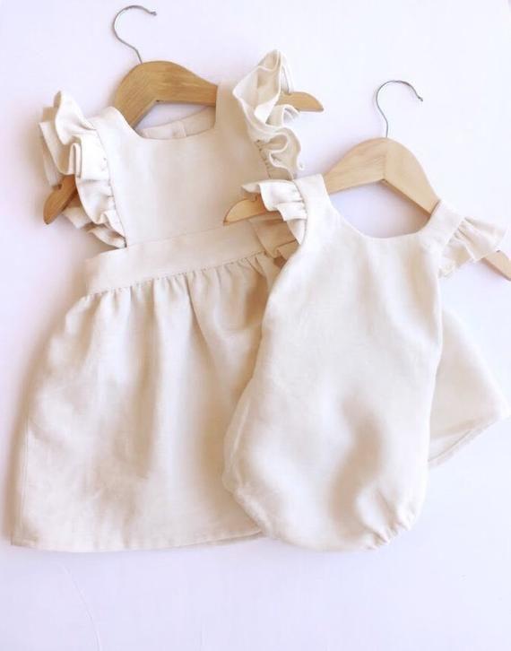 Photo of Linen Pinafore Dress – Baby Linen Dress – Toddler Linen Dres…