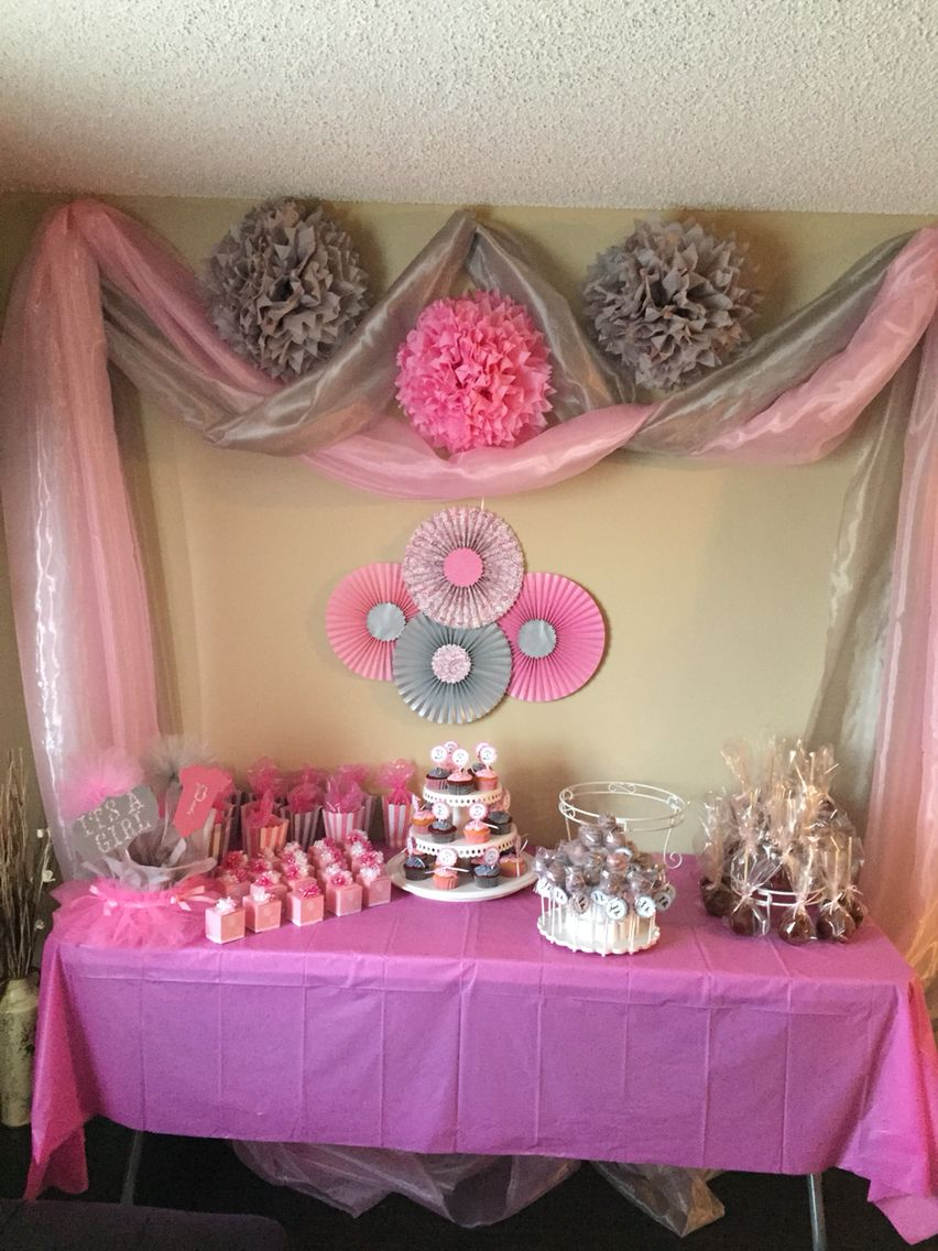 Pink and gray baby girl shower baby showers pinterest for Baby shower decoration ideas for girl