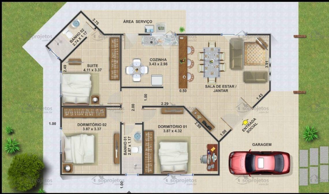 Térrea com 3 quartos e 12m de frente - Cód. 102 | Só Projetos