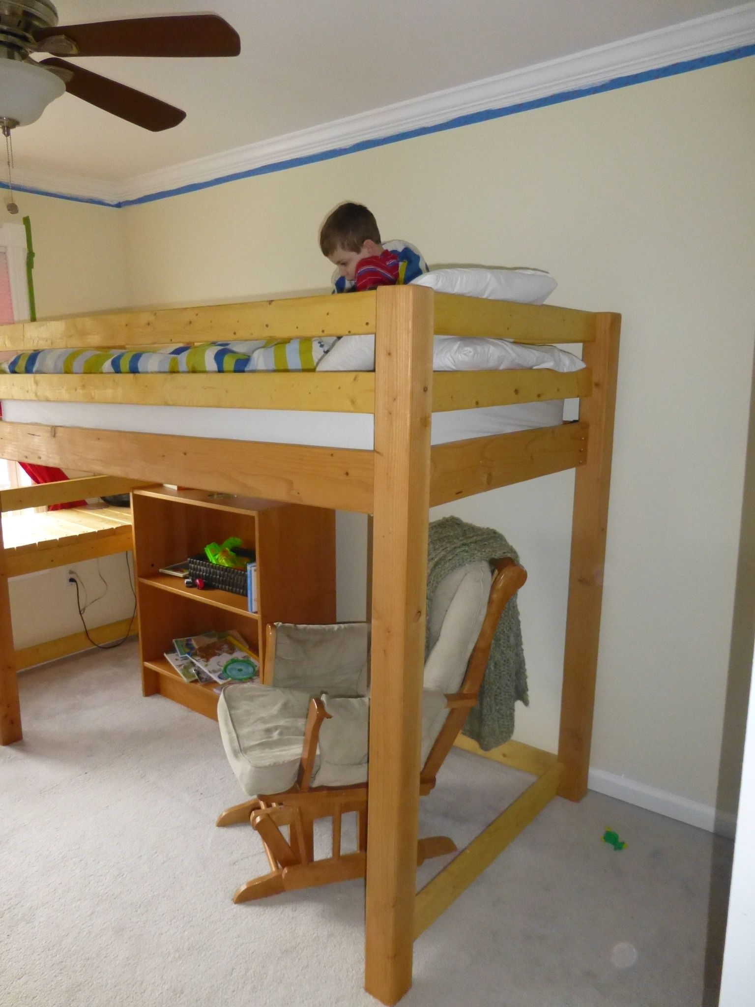 Loft bed with twin underneath  loft bed with stairs and room for futon underneath  Camp Loft Bed