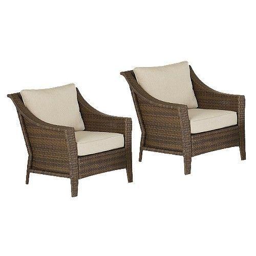 Threshold Rolston 2 Piece Wicker Patio Club Chair Set Patio