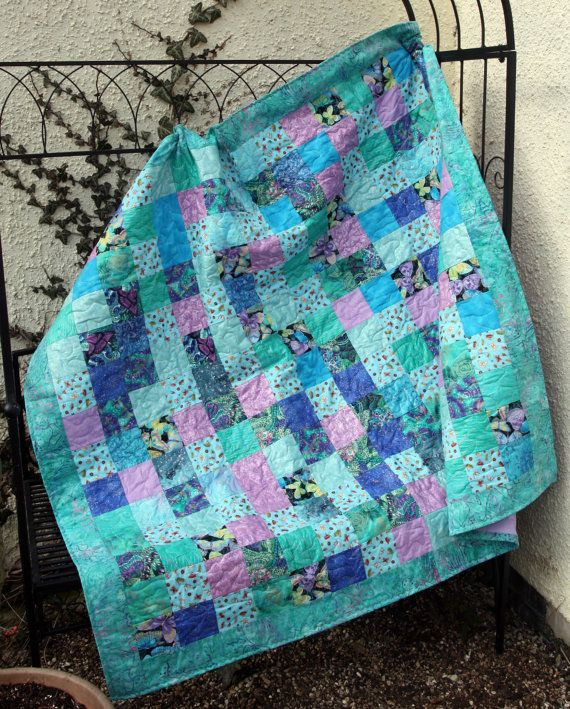 CLEARANCE SALE Butterfly Ball Patchwork Quilt in Aqua, Blue ... : blue and purple quilt - Adamdwight.com