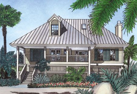 Plan 6351HD: Bermuda Island Style Elevation | Beach cottages and House