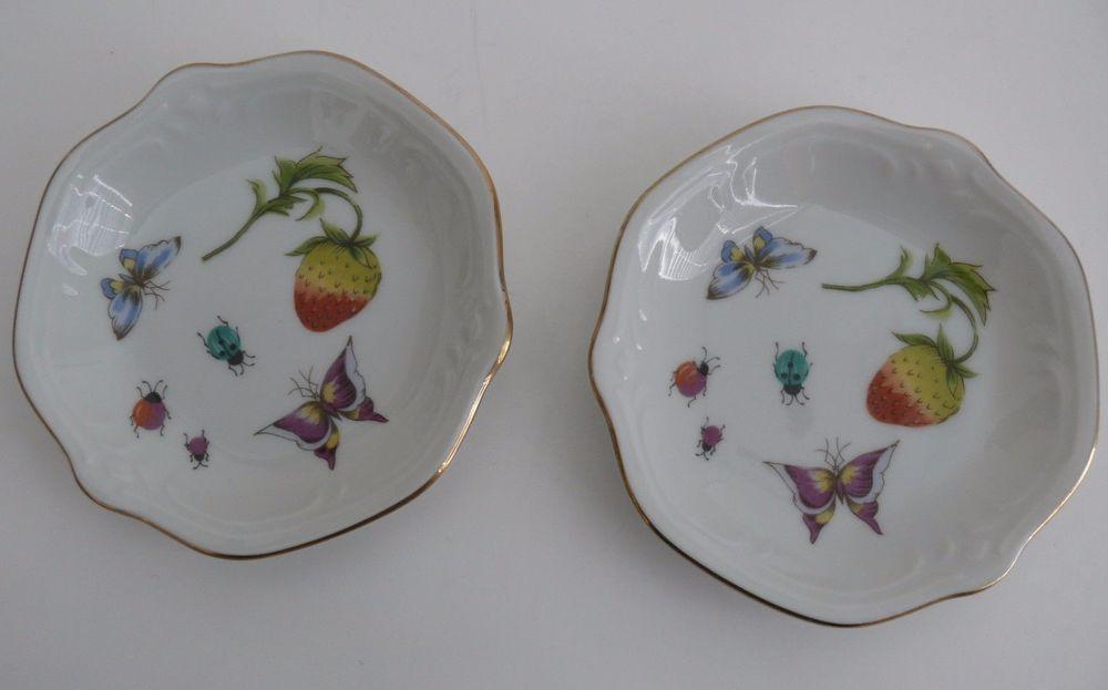 2 Ring Dishes Butter Pat Plates Vtg Porcelain Strawberry Lady Bugs Butterflies & 2 Ring Dishes Butter Pat Plates Vtg Porcelain Strawberry Lady Bugs ...