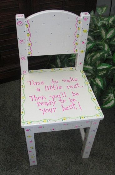Hand Painted Childrens Chair Time Out Chair By Minisandmore, $60.00