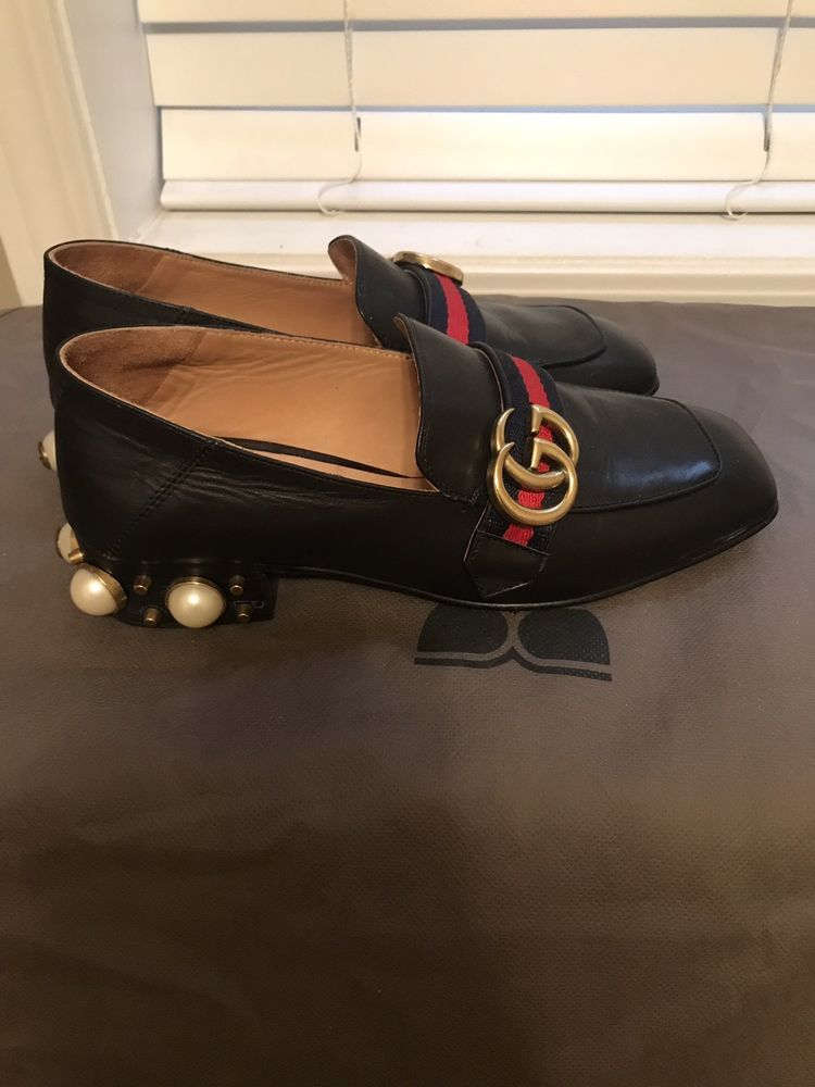 232882f5fe6 GUCCI PEYTON Black Pearl Loafer Pumps Two Way Shoes And Slipper Size 37   fashion