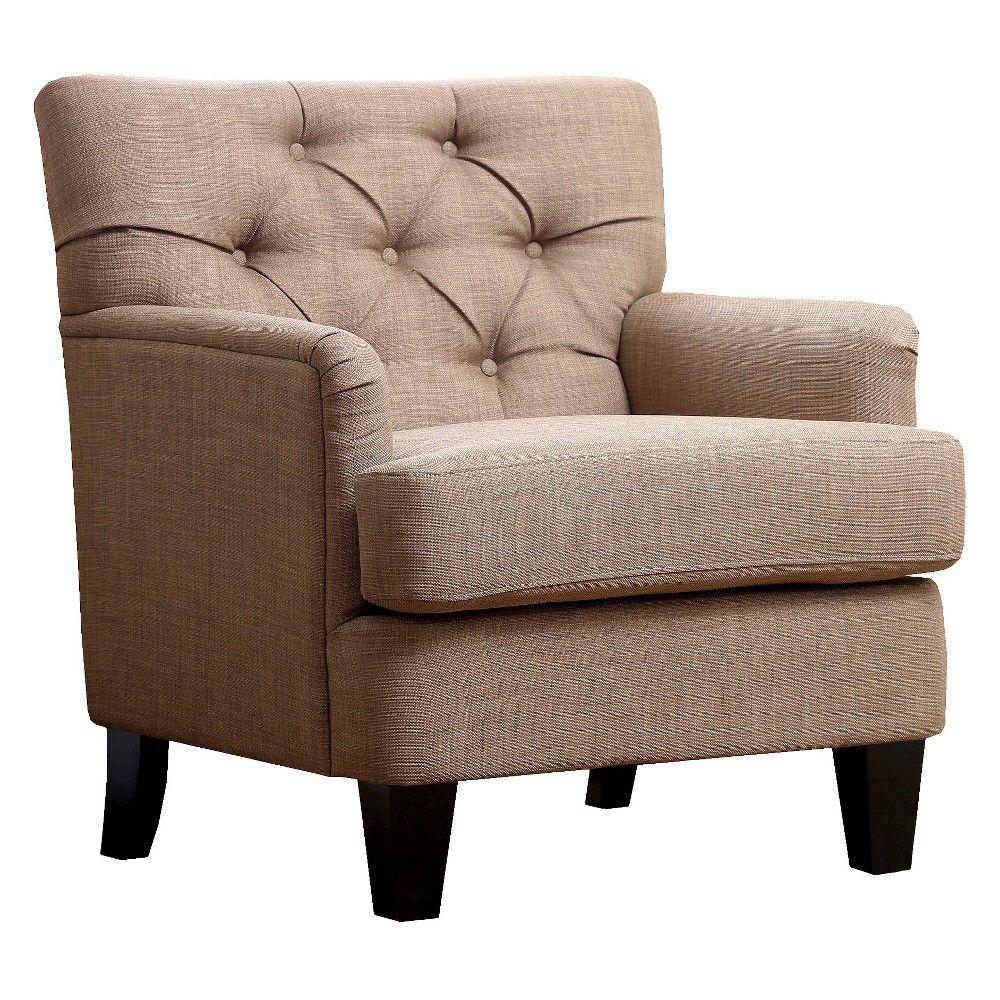 lyla tufted club chair  abbyson living taupe brown