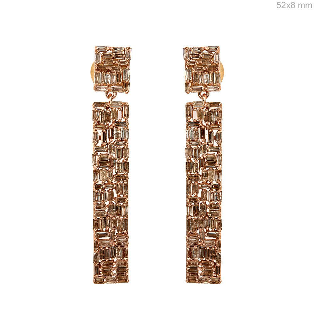 Solid 18k Rose Gold Baguette Diamond Pave Dangle Earrings Antique Style Jewelry #raj_jewels