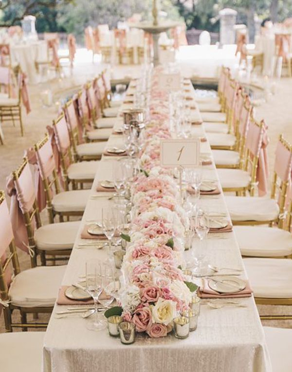 Long Table Blush Pink Wedding Centerpiece Sms Photography