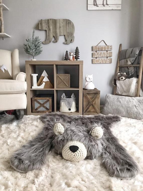Kinderzimmer Teppich / regelmäßige Größe grau Grizzly Bear