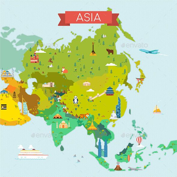 Map Of Asia Vector.Travel And Tourism Background Vector Flat Illustration Vectors In