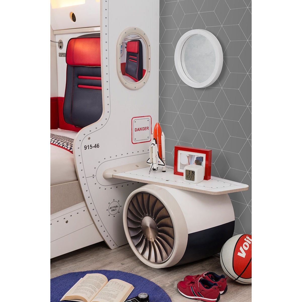 Cilek First Class Airplane Twin Storage Bed with Headboard