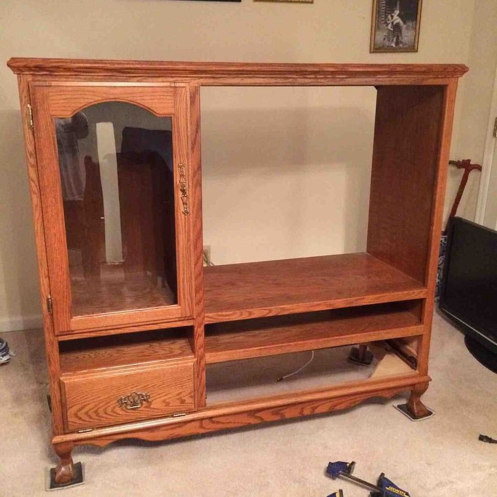 Tv Cabinet Made Into Play Kitchen: Bringing An Oak Entertainment Center Into 2014 In 2019