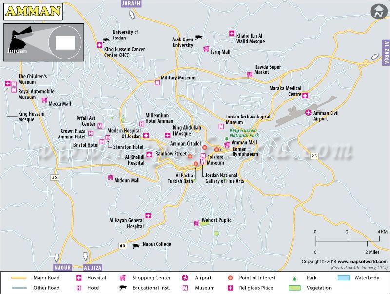 Amman Map, The Capital Of Jordan Shows Major Landmarks