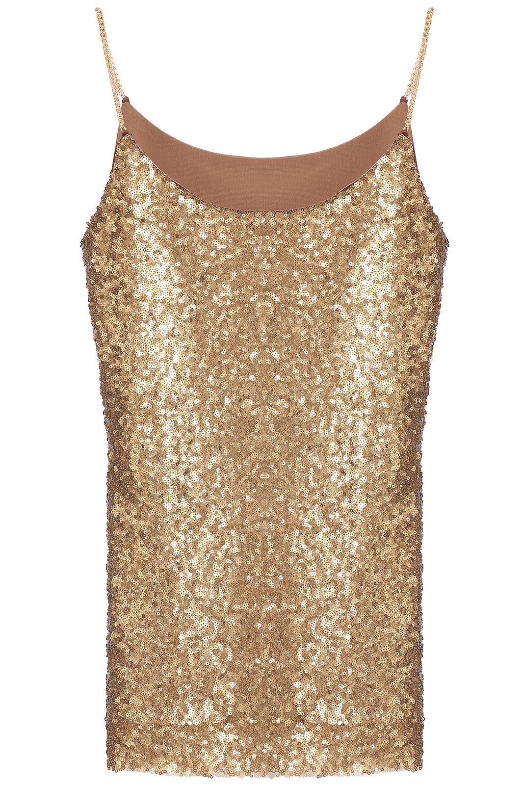 130f7b62049ee Gold Spaghetti Strap Sleeveless Sequined Vest - abaday.com
