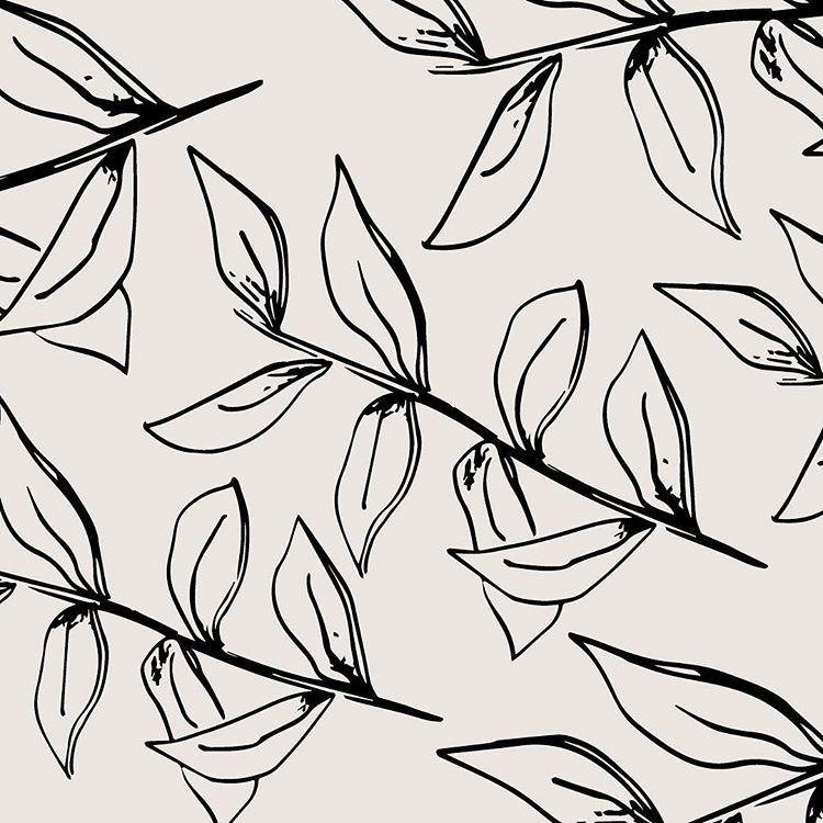 Botanical Leaf Pattern Black And White Neutral Boho Earthy