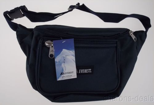 Everest Signature Fanny Waist Pack Navy 3 Zipper Compartments Adjustable Large
