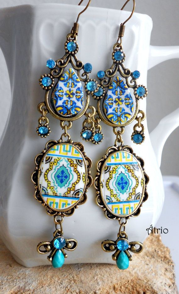Portugal antique azulejo tile replica chandelier earrings aqua and portugal antique azulejo tile replica chandelier earrings aqua and yellow esgueira and feira bohemian hippie mozeypictures Images