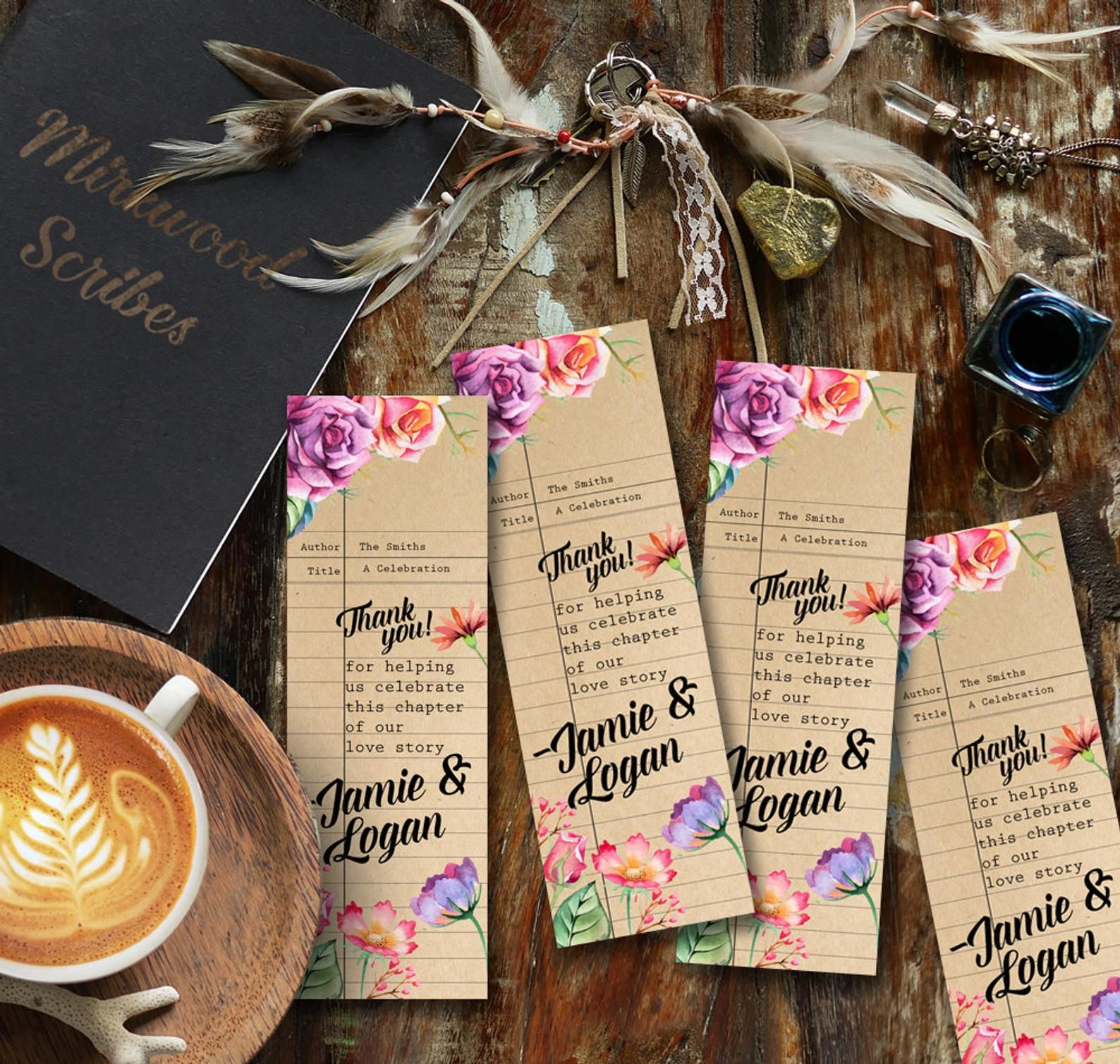 Literary Shower Favor Bookmark, Custom Floral Library Card