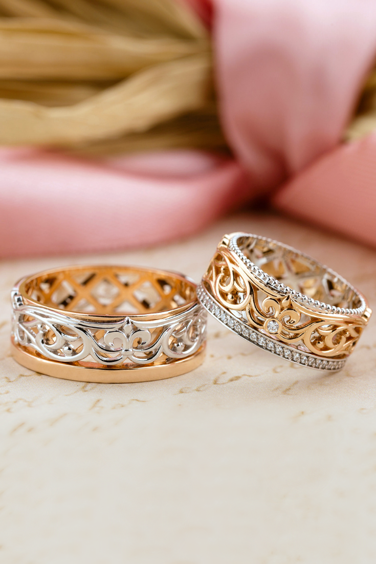 Gold Floral Wedding Band For Women Vintage Style Wedding Etsy Wedding Rings Vintage Wedding Rings For Women Wedding Rings Unique Vintage