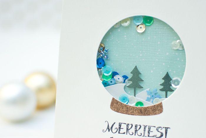 Waffle Flower Snow Globe Shaker Cards Snow Globe Crafts