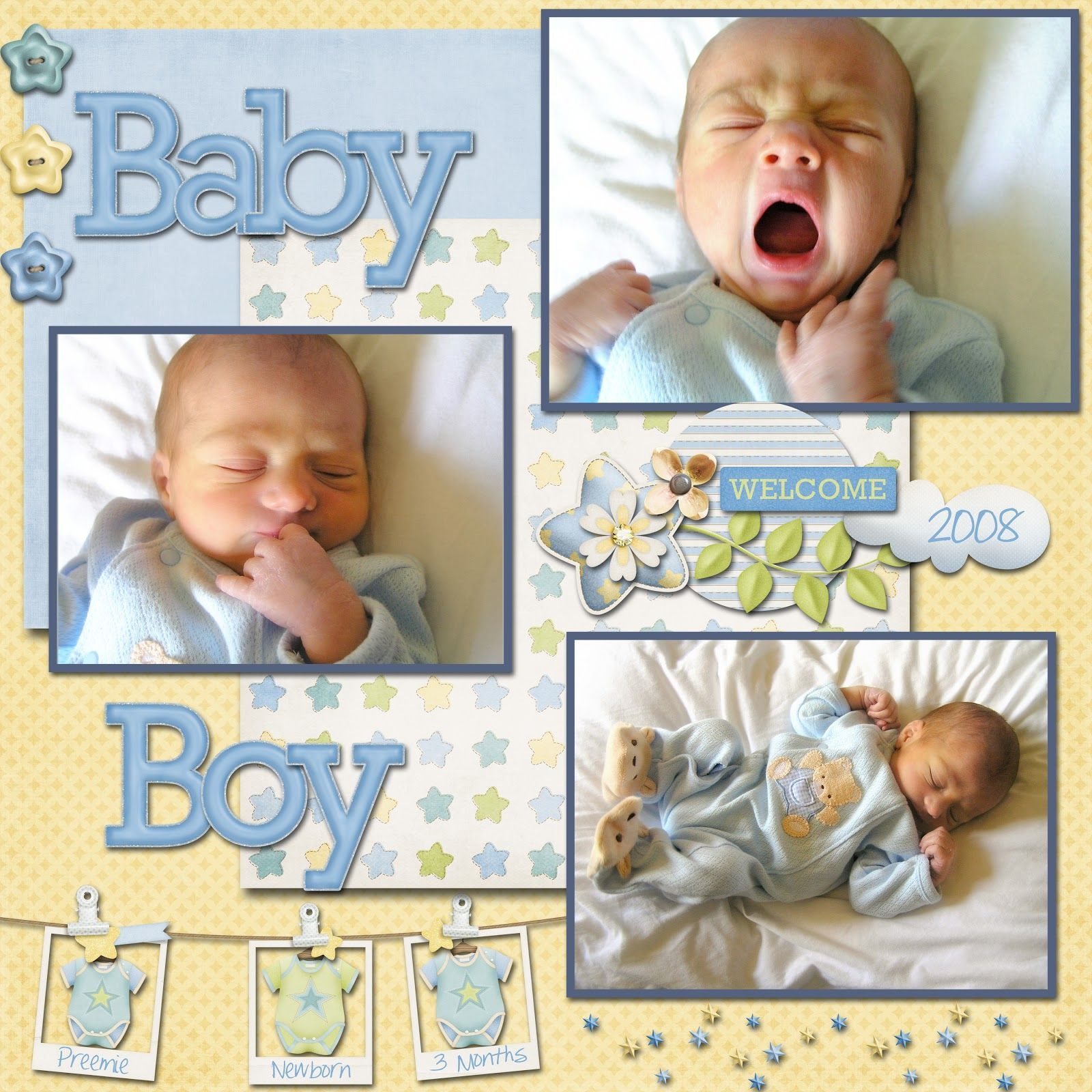 Scrapbook layout for baby boy displaying 20 images for for Newborn baby boy pictures ideas
