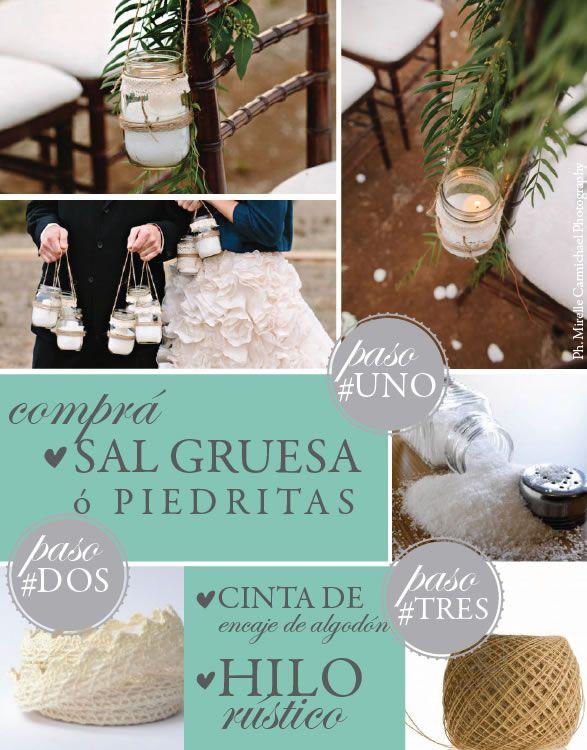 Porta_velas_fanales_casamiento_frasco_sal_gruesa_cinta_de_encaje_de_algodon