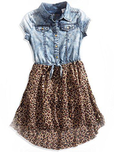 GUESS Kids Girls Big Girl Denim And Chiffon High-Low Shirt Dress (7-16)