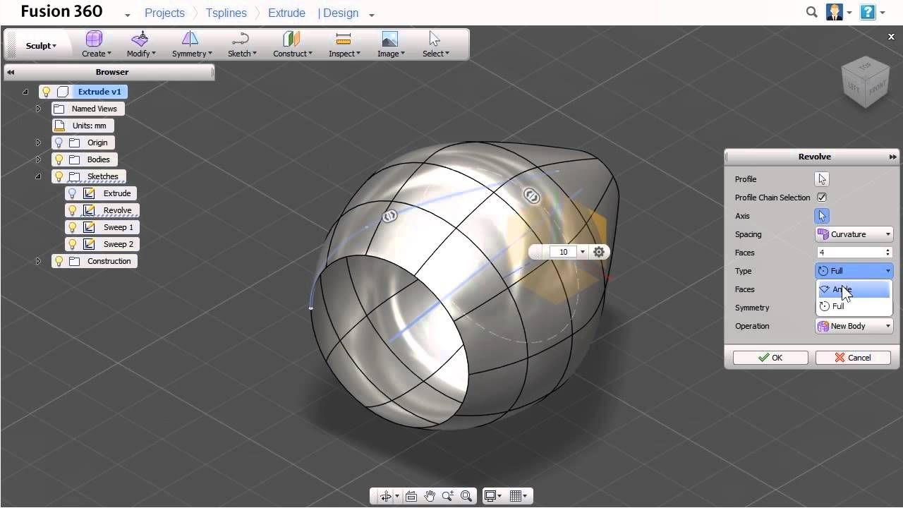 Fusion 360 - Create T-Spline Bodies Using Sketch-based