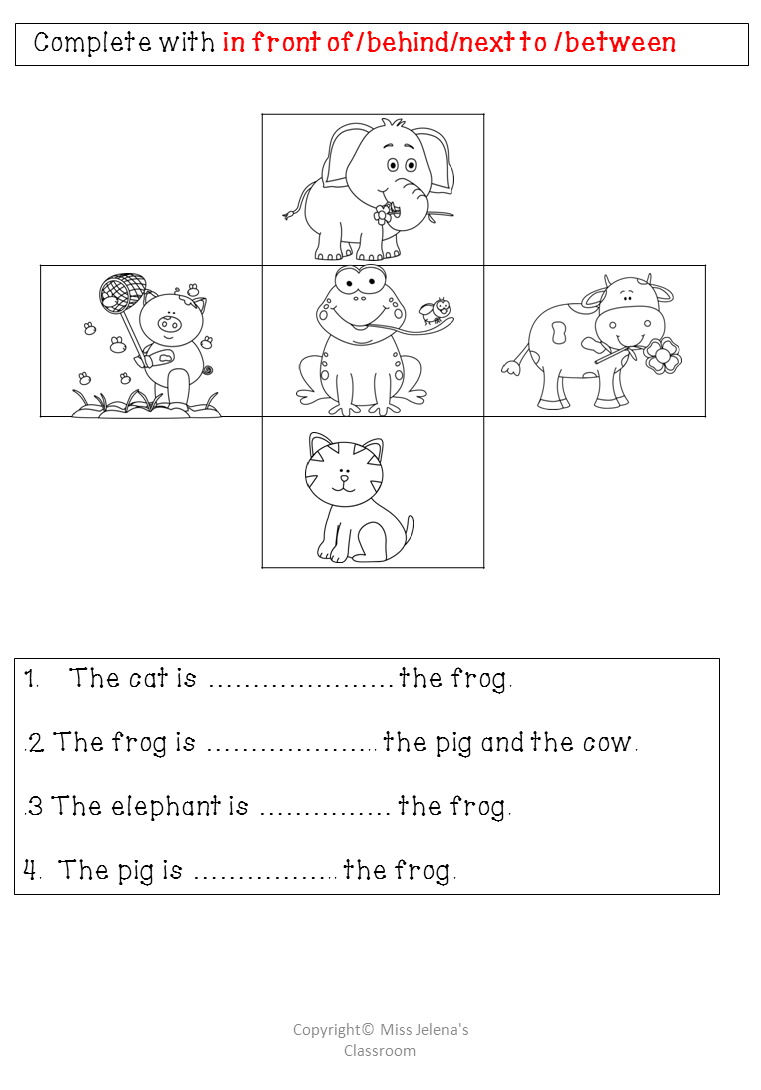 Prepositions of place big pack Homework worksheet from