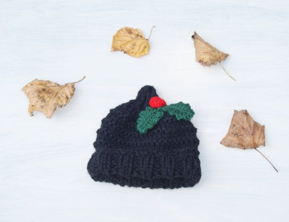 Baby Girl Boy Chunky Newborn Knitted Elf Black by slouchiehats