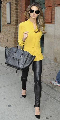 Love Lily Aldridges looks of the black leather pants and top!