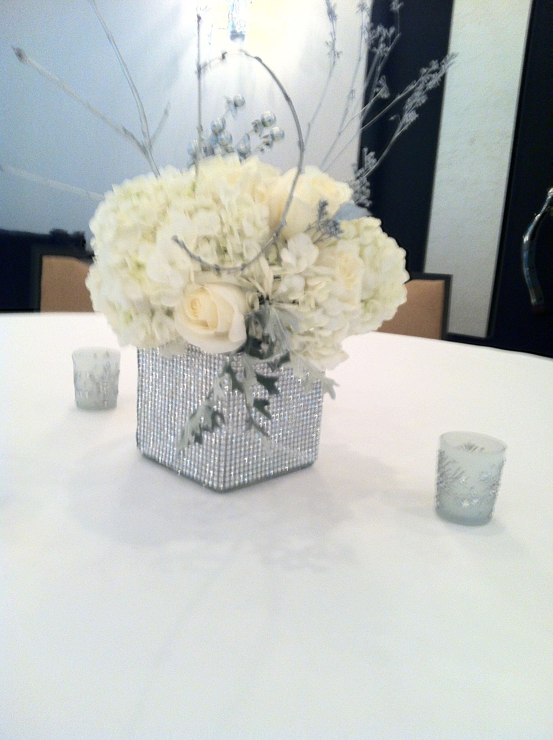 Winter centerpiece, all white flowers with silver accents, silver ...