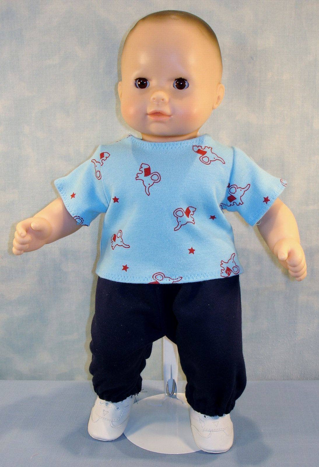 15 Inch Boy Doll Clothes Red Elephants On Blue T Shirt With Navy Sweatpants Handmade By Jane Ellen B Bitty Baby Clothes Boy Doll Clothes Kids Online Shopping