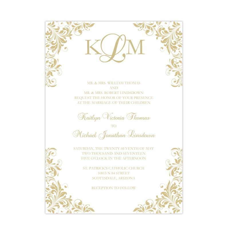 Print Your Own Wedding Invitations Templates: Kaitlyn Wedding Invitation Champagne