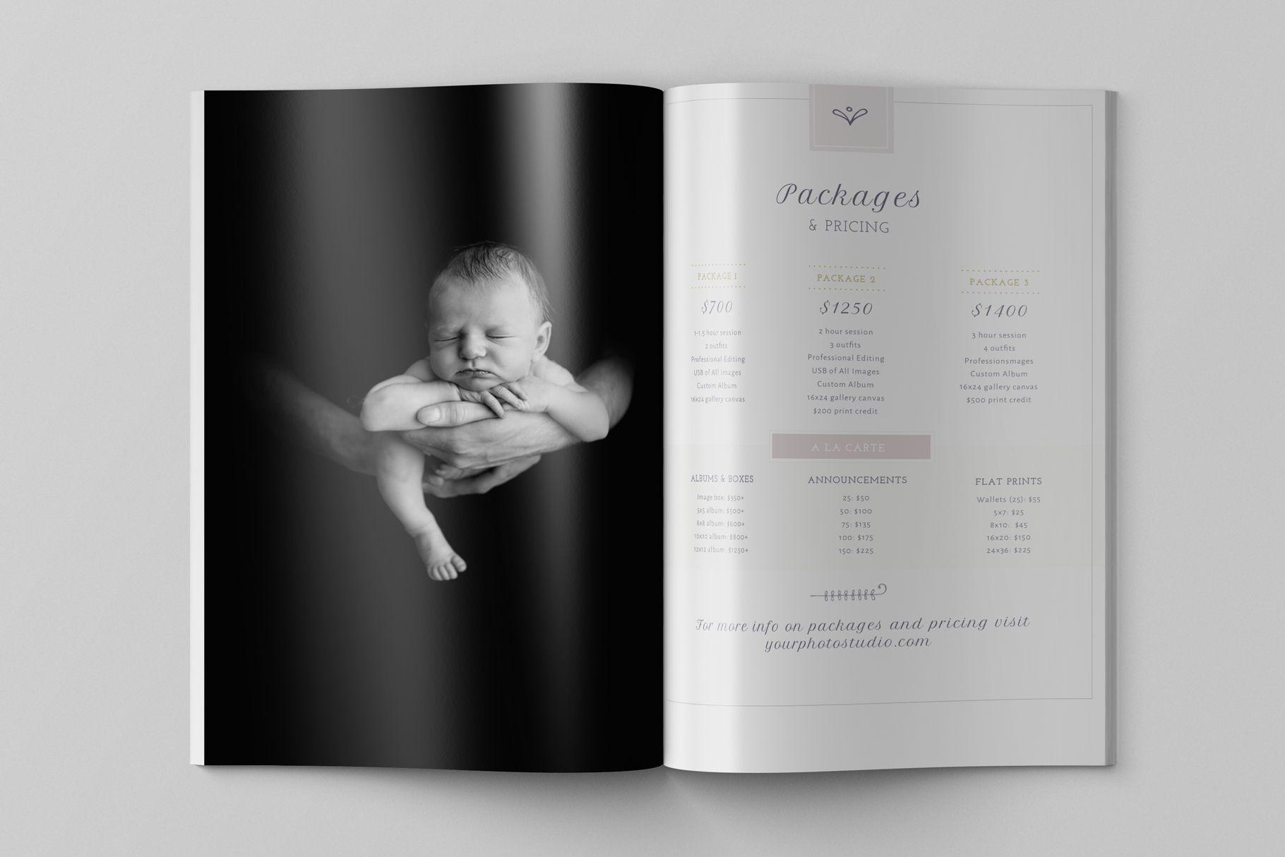 Newborn Photography Magazine Template, 22 Pages, Newborn Magazine ...