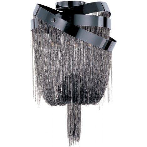 Plafonnier avec bandes en chrome noir sont artistiquement éparpillé avec chaînes finis dans un nickel noir, Idéal pour Cuisine, salle a manger, chambre, salon, entré