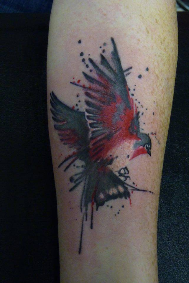 Bird Watercolored Aquarell Black And Red By Gery Birdtattoo Aquarellbirdtattoo Bird Watercol Robin Bird Tattoos Watercolor Bird Tattoo Birds Tattoo