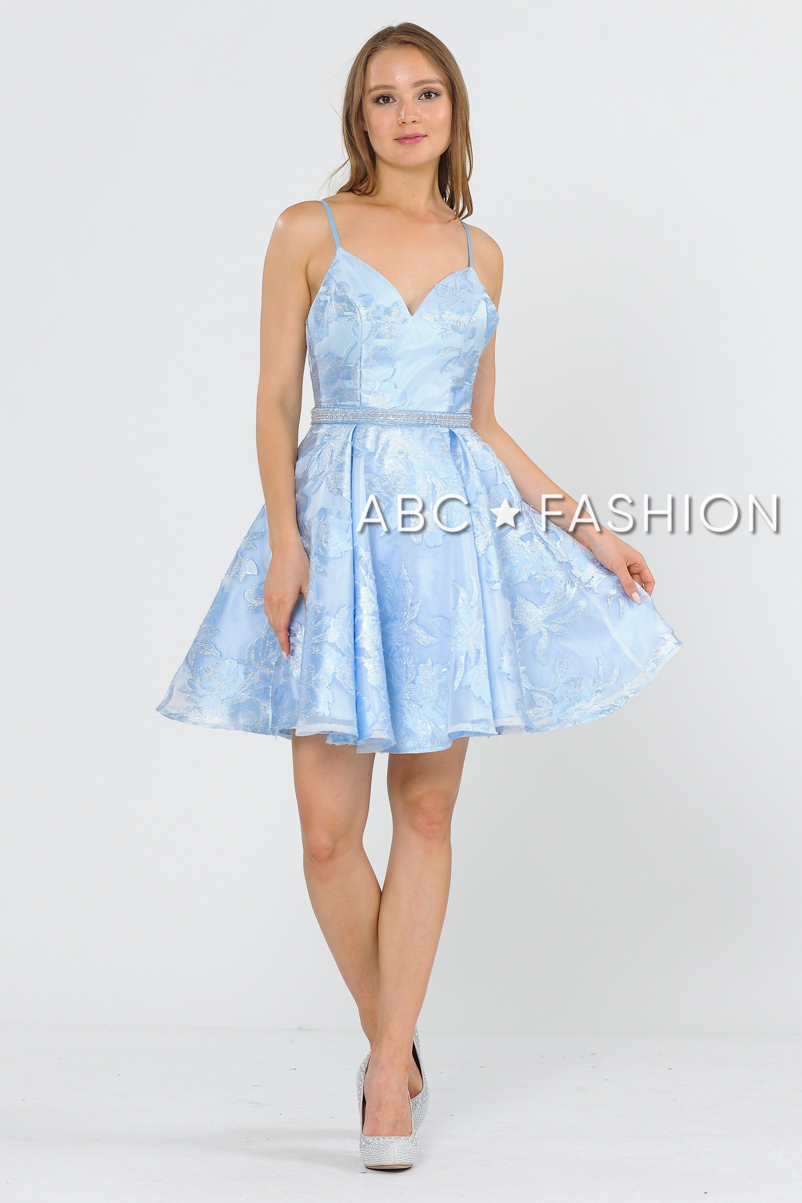 Short Glitter Print Dress With Beaded Waist By Poly Usa 8422 In 2021 Prom Dresses Short Blue A Line Cocktail Dress Cute Prom Dresses [ 3992 x 2661 Pixel ]