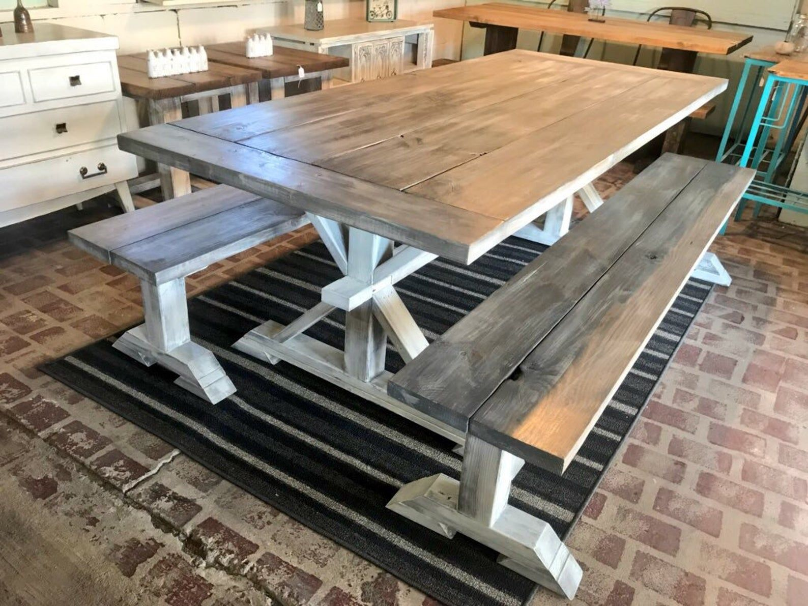 7ft Rustic Farmhouse Table Set With Long Benches And Etsy In 2020 Farmhouse Table Setting Rustic Farmhouse Table Wooden Dining Set