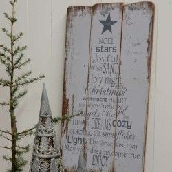 Træskilt Noël Stars Joyful