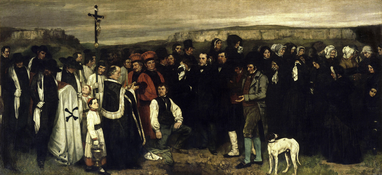 Courbet non si limitò a riprendere forme altrui né compì esperienze su stili di altri; bensì assorbì esempi passati utilizzandoli in modo nuovo. E' una sintesi di tradizioni diverse. Gustave Courbet, Funerale a Ornans, 1849-50, Musée d'Orsay, Parigi.