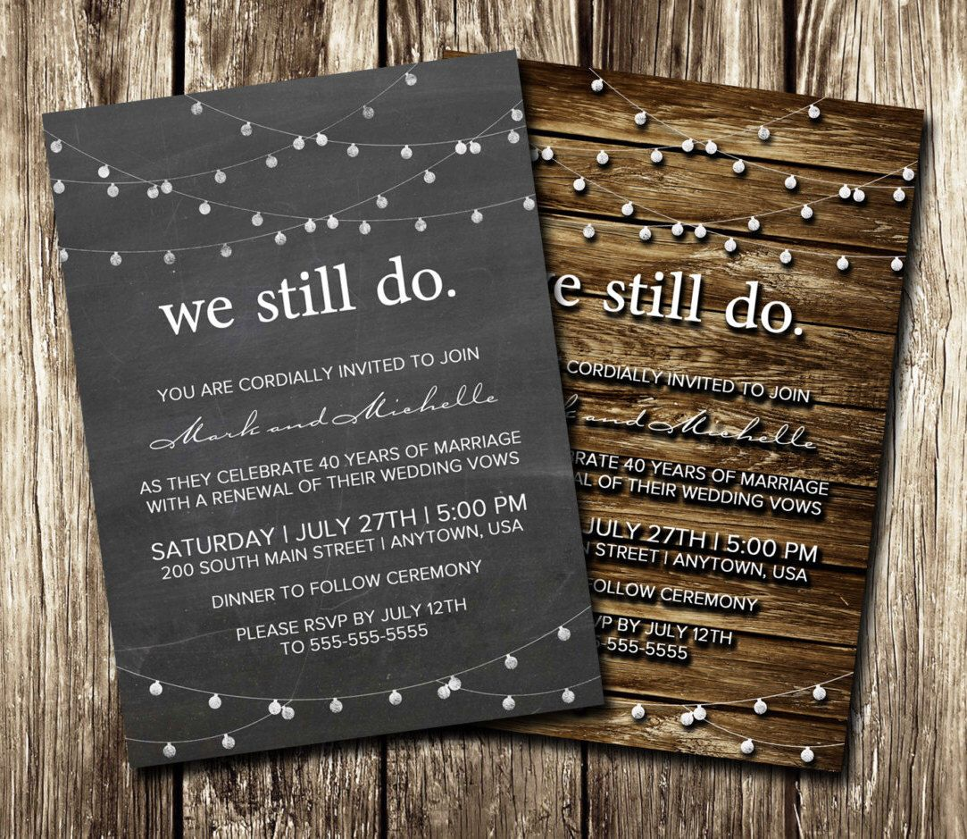 Anniversary invitations vow renewal diy printable or printed anniversary invitations vow renewal diy printable or printed we still do wedding stopboris Images