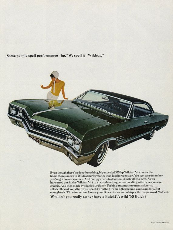 1965 Buick Wildcat Classic Car Ad Green Automobile Photo Vintage Advertising Wall Art Decor Print