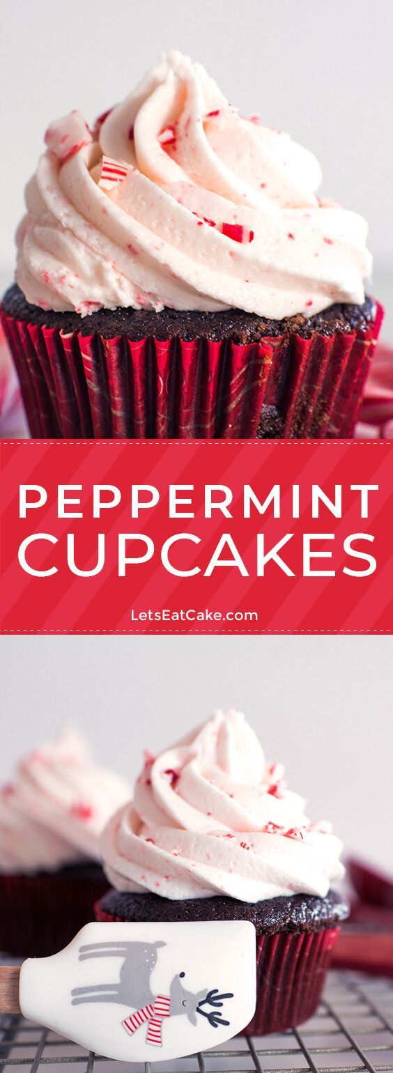 Peppermint Cupcakes These Chocolate Peppermint Cupcakes are dressed to impress! The combination of a rich chocolate cupcake base, peppermint buttercream frosting, and crushed candy canes make this holiday dessert impossible to resist.