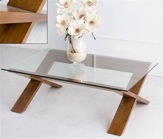 Muebles Portobellostreetes Base de mesa de centro con cristal