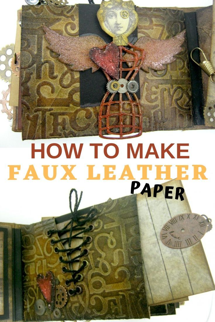 Make faux leather paper that looks like the real thing! For every craft project or mini album. #diypaper #fauxleather #diycrafts #craftsupplies