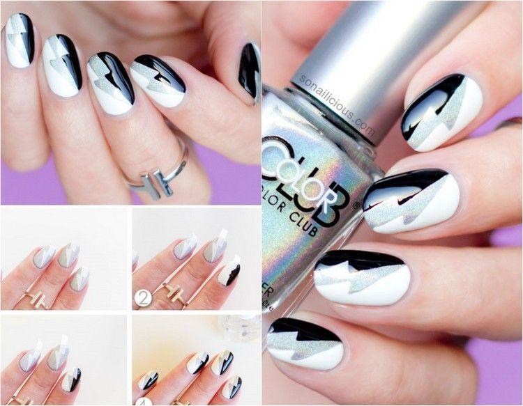 motivos en blanco negro y gris para decorar tus uñas en el 2016 - uas modernas